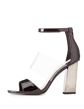 Three-Piece Metallic Heel Sandals