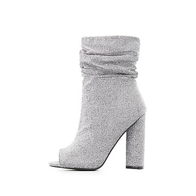 Qupid Shimmer Ruched Peep Toe Booties