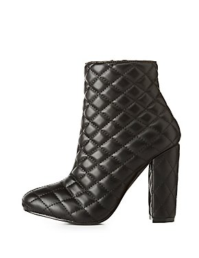 Quilted Faux Leather Ankle Booties