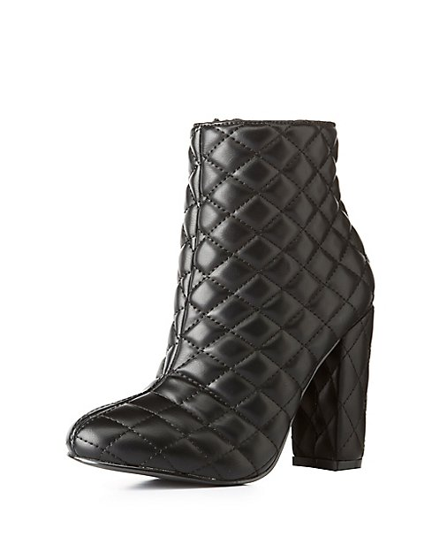 Quilted Faux Leather Ankle Booties | Charlotte Russe : quilted booties - Adamdwight.com