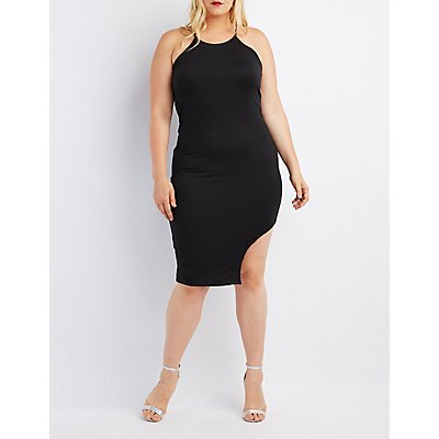 Plus Size Bib Neck Asymmetrical Dress