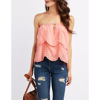 Embroidered Tiered Strapless Top