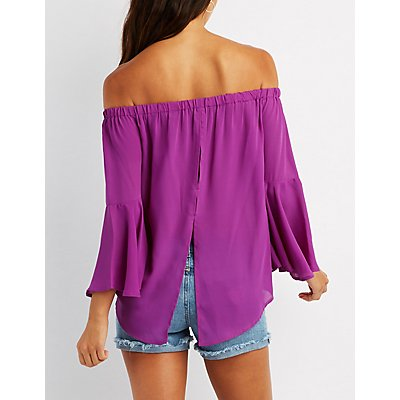 Off-The-Shoulder Bell Sleeve Split-Back Top