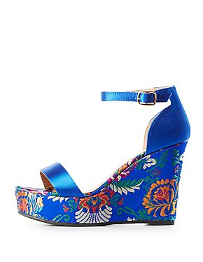 Bamboo Satin & Brocade Wedge Sandals