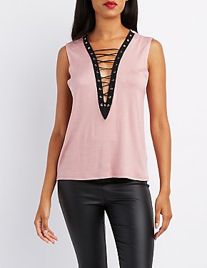 Lace-Up Muscle Tank Top