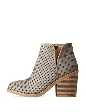 Perforated Faux Suede Ankle Booties