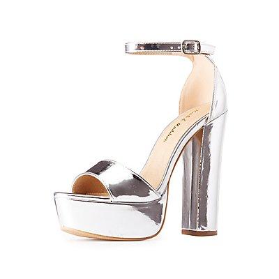 Metallic Two-Piece Platform Sandals