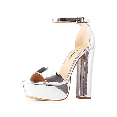 Metallic Two-Piece Platform Sandals