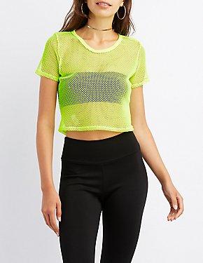 Neon Mesh Crop Top