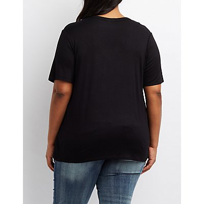 Plus Size Lace-Up Detail Cut-Out Tee