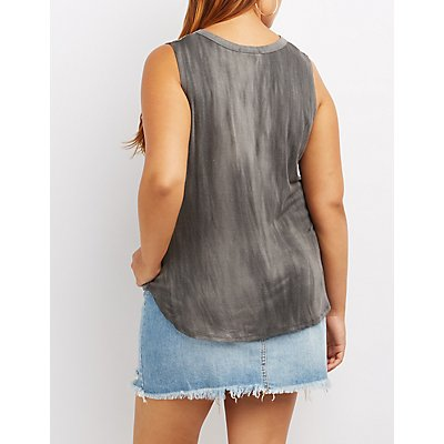Plus Size Destroyed Choker Neck Tank Top