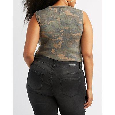 Plus Size Choker Neck Camo Print Bodysuit