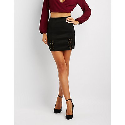 Faux Suede Lace-Up Mini Skirt