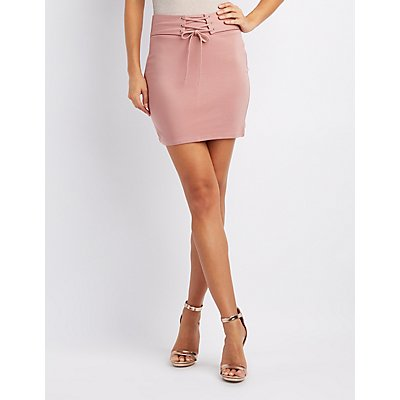 Corset-Detail Bodycon Mini Skirt
