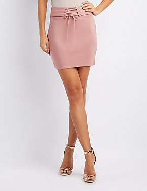 Corset-Detail Bodycon Mini Skirt