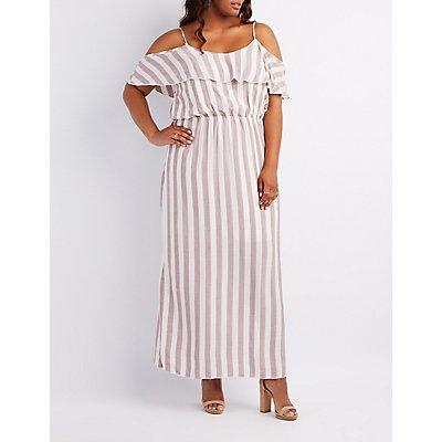 Plus Size Striped Cold Shoulder Maxi Dress