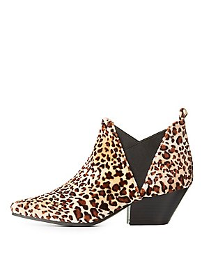 Qupid Pointed Toe Side Gore Booties
