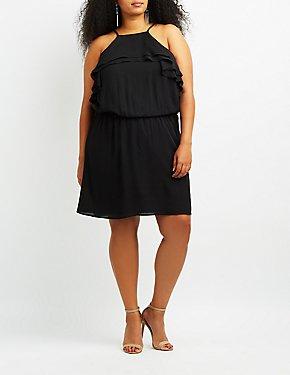 Plus Size Ruffle-Trim Bib Neck Skater Dress