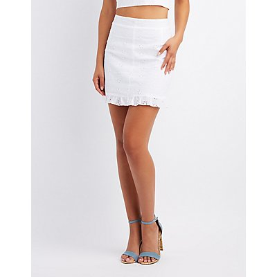 Eyelet Ruffle-Trim Skirt