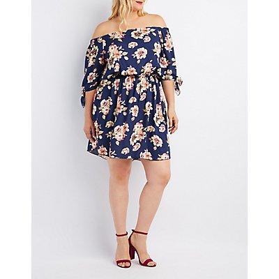 Plus Size Floral Tied Off-The-Shoulder Dress