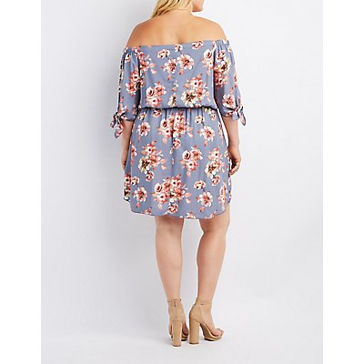 Plus Size Floral Tied Off-The-Shoulder Dress