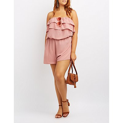Plus Size Tiered Strapless Romper