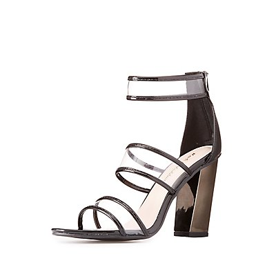 Clear Three-Piece Patent Sandals