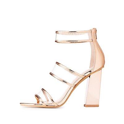 Clear Three-Piece Metallic Sandals