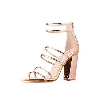 Clear Three-Piece Metallic Sandals