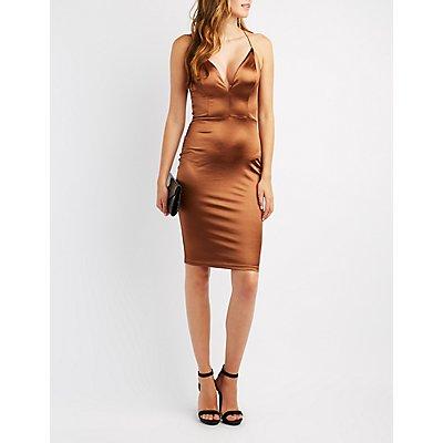 Lattice-Back Bodycon Dress