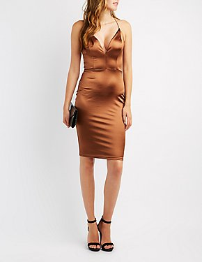 Lattice-Back Bodycon Dress