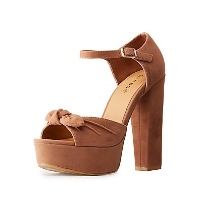 Bamboo Bow Two-Piece Platform Sandals