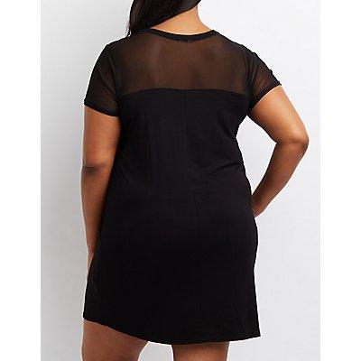 Plus Size Feminista Mesh T-Shirt Dress