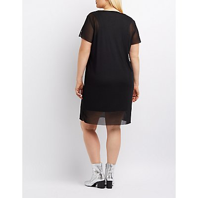 Plus Size Mesh Overlay Skull Graphic Shirtdress