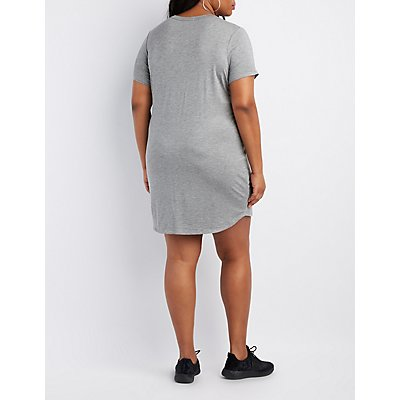 Plus Size Mesh-Inset T-Shirt Dress