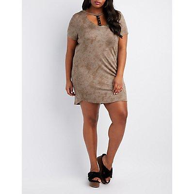 Plus Size Grommet T-Strap T-Shirt Dress