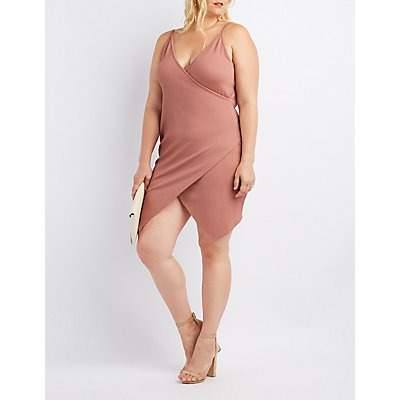 Plus Size Ribbed Bodycon Wrap Dress