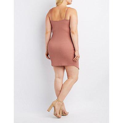 Plus Size Ribbed Bodycon Wrap Dress