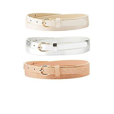 Metallic & Glitter Belts - 3 Pack