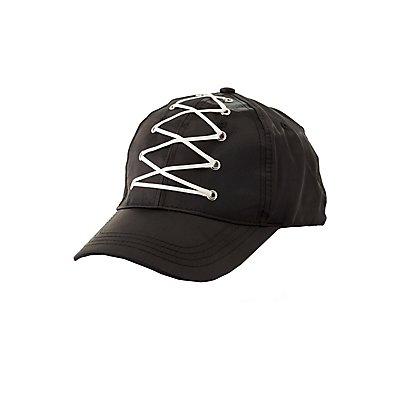 Lace-Up Satin Baseball Hat