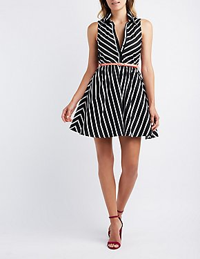 Striped Collared Skater Dress