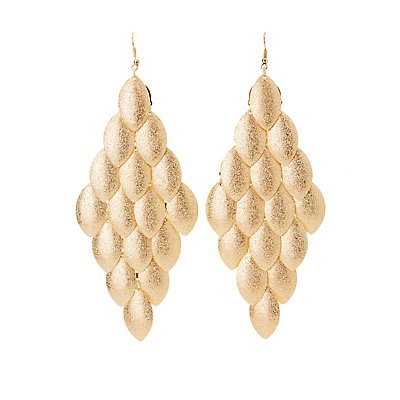 Textured Leaf Chandelier Earrings