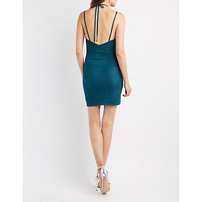 Choker Neck Faux Suede Bodycon Dress