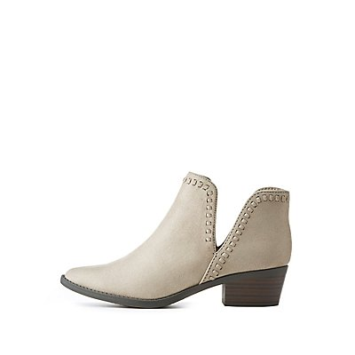 Whipstitch Cut-Out Ankle Booties