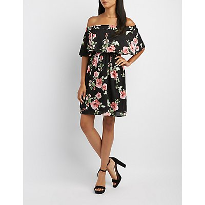 Floral Off-The-Shoulder Ruffle Dress