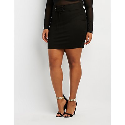 Plus Size Lace-Up Detail Bodycon Skirt