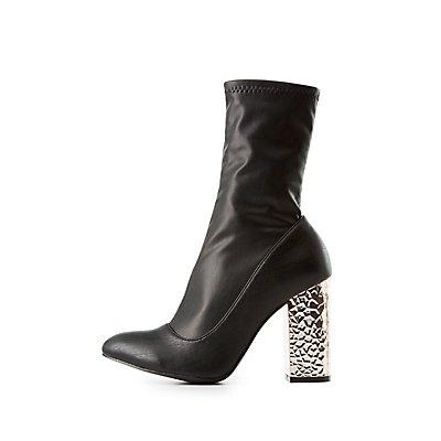 Qupid Metallic Heel Sock Booties
