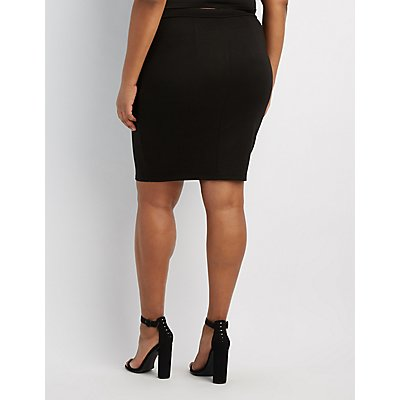 Plus Size Lace-Up Detail Pencil Skirt