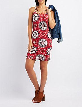 Printed Strappy Bodycon Dress