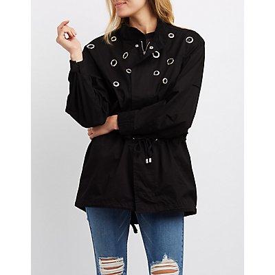Grommet-Detail Anorak Jacket